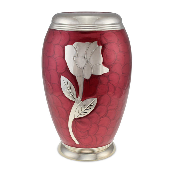 Rose Red Patterned Adult Cremation Urn for Ashes - Cherished Urns