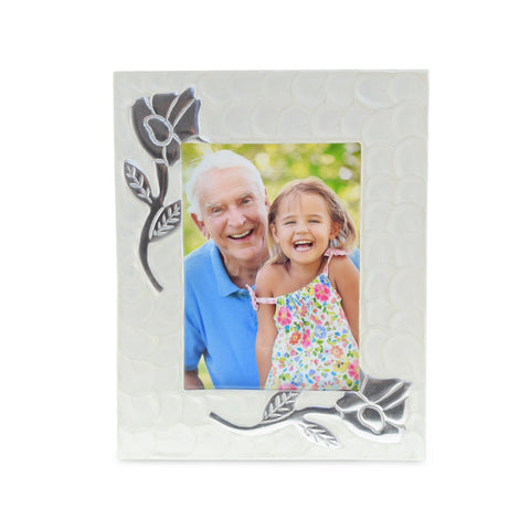 Rose White Patterned Photoframe - Cherished Urns