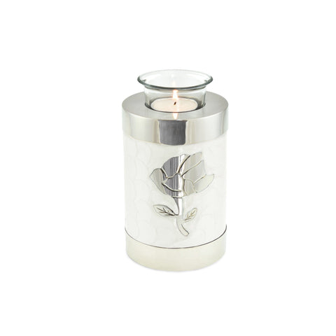Rose White Patterned Tea Light Cremation Urn Keepsake - Cherished Urns
