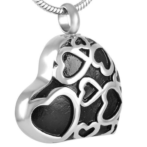 Black Heart Memorial Ash Keepsake Cremation Pendant - Cherished Urns