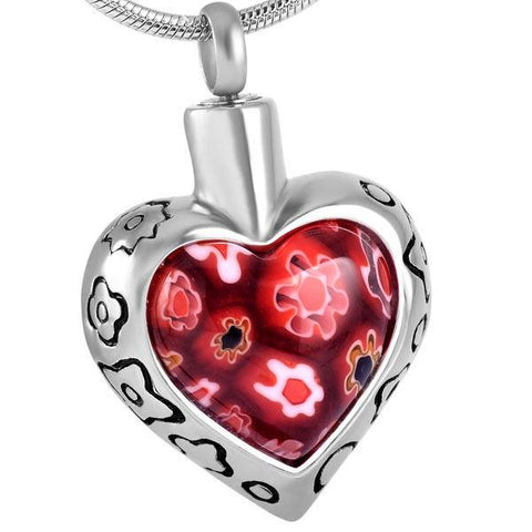 Red Glass Heart Memorial Ash Keepsake Cremation Pendant - Cherished Urns