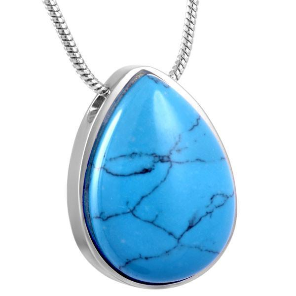 Blue Drop Memorial Ash Keepsake Cremation Pendant - Cherished Urns