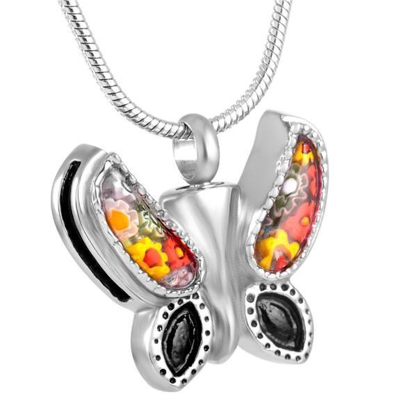 Rainbow Butterfly Memorial Ash Keepsake Cremation Pendant - Cherished Urns