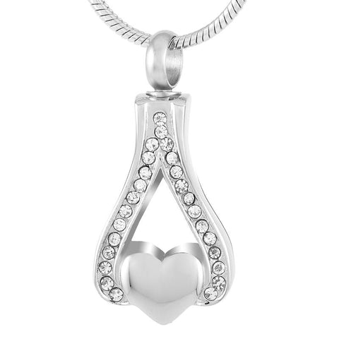 Crystals With Silver Heart Memorial Ash Keepsake Cremation Pendant - Cherished Urns