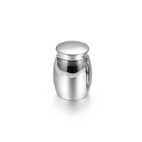 Polished Silver Colour Mini Keepsake Cremation Urn For Ashes - Cherished Urns