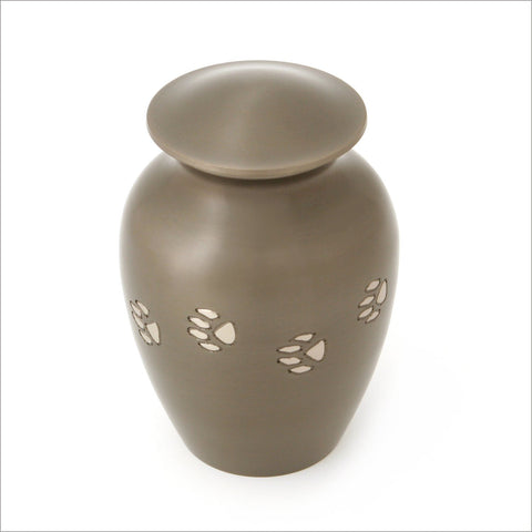 Brass Classic Pet Urn with Paw Prints on Slate finish - large - Cherished Urns