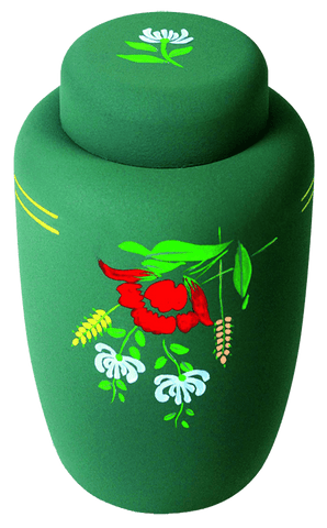 Classic Dark Green Floral Biodegradable Urn - Cherished Urns