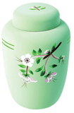 Classic Green Floral Biodegradable Urn - Cherished Urns
