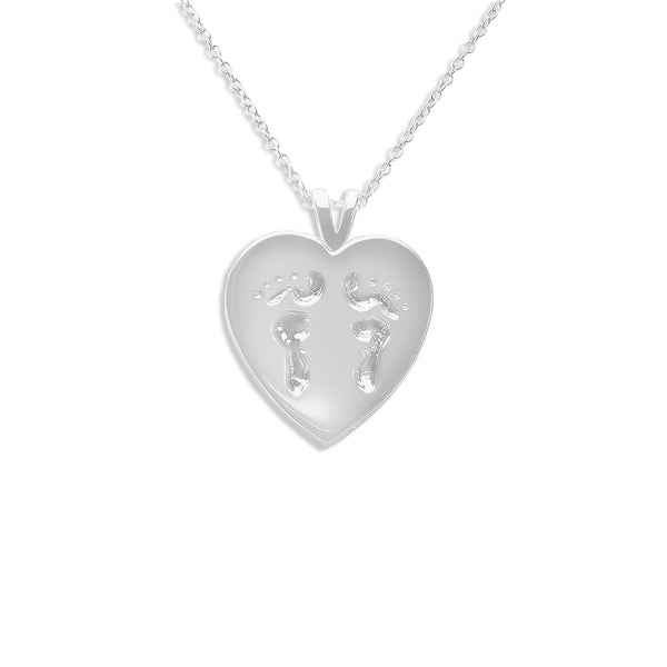 Baby Footsteps Heart Hollow Ashes Cremation Pendant - Cherished Urns