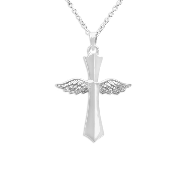 Winged Cross Hollow Ashes Cremation Pendant - Cherished Urns