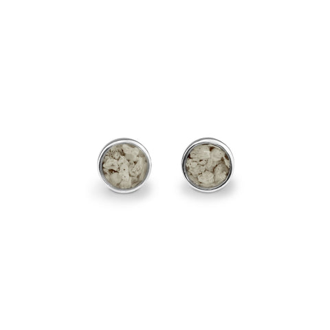 Ladies Sterling Silver Classic Round Memorial Ashes Earrings - Cherished Urns