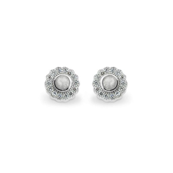 Ladies Petals Memorial Ashes Earrings with Swarovski Crystals - Cherished Urns