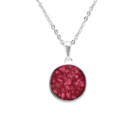 Ladies Classic Round Memorial Ashes Pendant - Cherished Urns