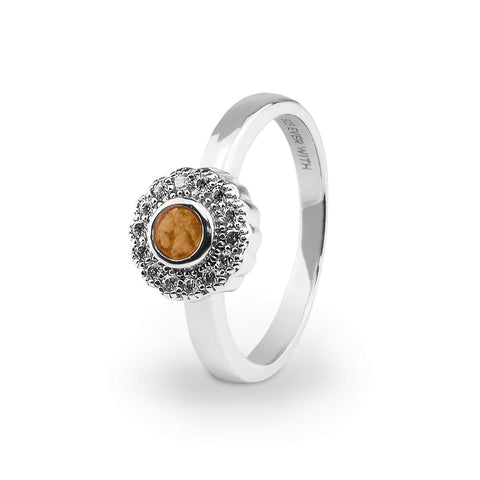 Ladies Petals Memorial Ashes Ring with Swarovski Crystals - Cherished Urns