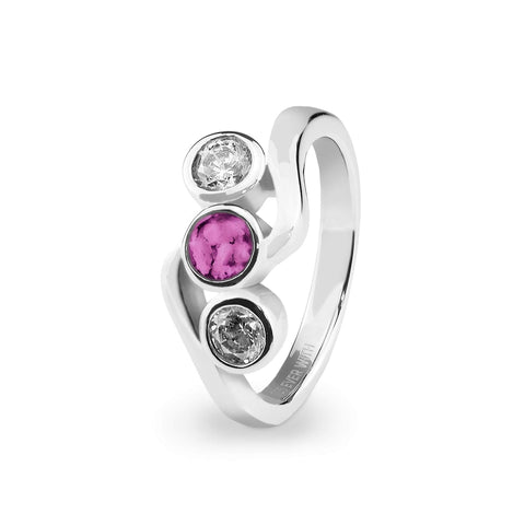 Ladies Three Of Us Memorial Ashes Ring with Swarovski Crystals - Cherished Urns