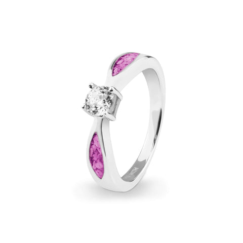 Ladies Solitaire Memorial Ashes Ring with Swarovski Crystals - Cherished Urns