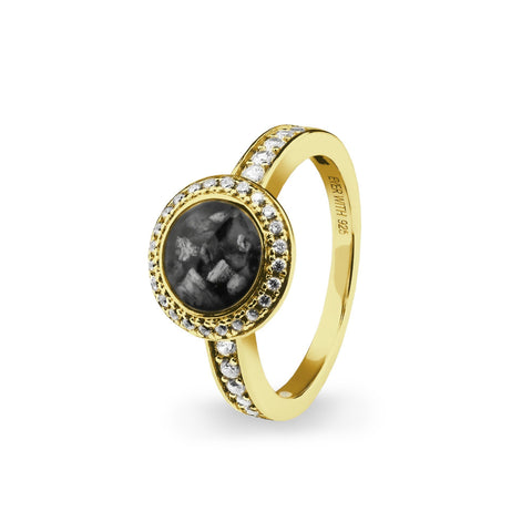 Ladies Gold Plated Silver Radiance Memorial Ashes Ring with Swarovski Crystals - Cherished Urns