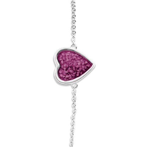 Ladies Heart Memorial Ashes Bracelet - Cherished Urns