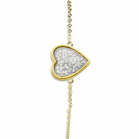 Ladies Gold Plated Silver Heart Memorial Ashes Bracelet - Cherished Urns