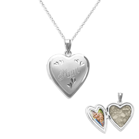 Mum Heart Shaped Sterling Silver Cremation Ashes Locket - Cherished Urns
