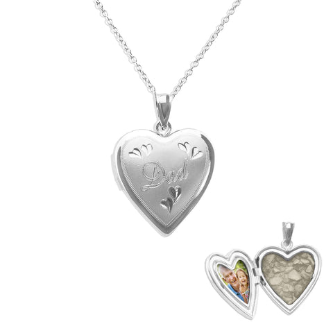 Dad Heart Shaped Sterling Silver Cremation Ashes Locket - Cherished Urns