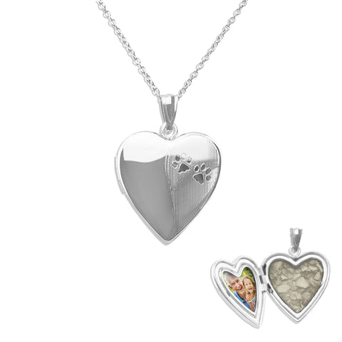 Paw Print Heart Shaped Sterling Silver Cremation Ashes Locket - Cherished Urns