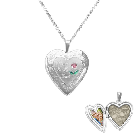 Pink Rose Heart Shaped Sterling Silver Cremation Ashes Locket - Cherished Urns