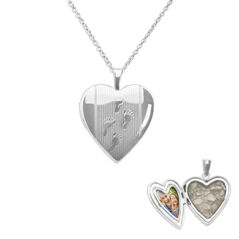 Footsteps Heart Shaped Sterling Silver Cremation Ashes Locket - Cherished Urns