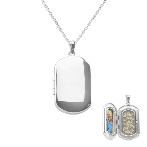 Large Rounded Rectangle Shaped Sterling Silver Cremation Ashes Locket - Cherished Urns