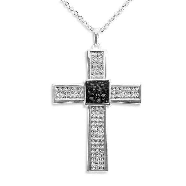 Unisex Oversized Cross Memorial Ashes Pendant with Swarovski Crystals - Cherished Urns