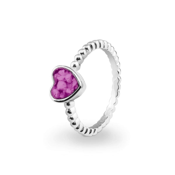Ladies Heart Bubble Band Memorial Ashes Ring - Cherished Urns