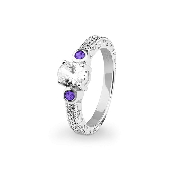 Ladies Serenity Memorial Ashes Ring with Swarovski Crystals - Cherished Urns