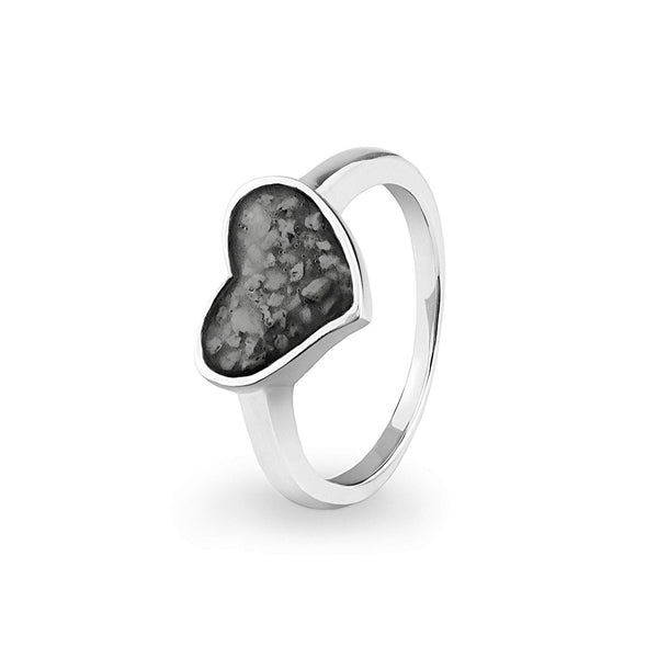 Ladies Oversized Heart Memorial Ashes Ring - Cherished Urns