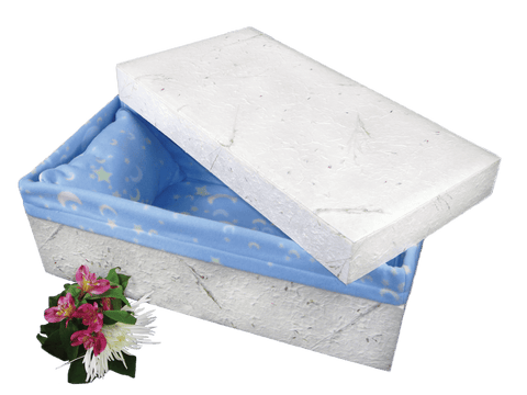 Infant Cremation Casket of Handmade Floral Paper - 28-inches - Cherished Urns