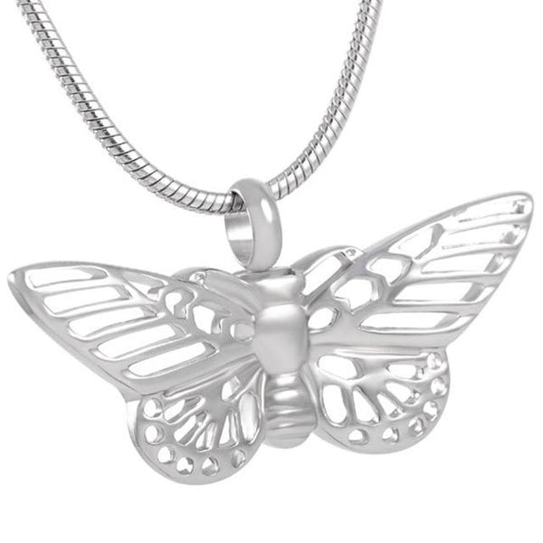 Silver Filigree Butterfly Cremation Ash Pendant and Necklace - Cherished Urns