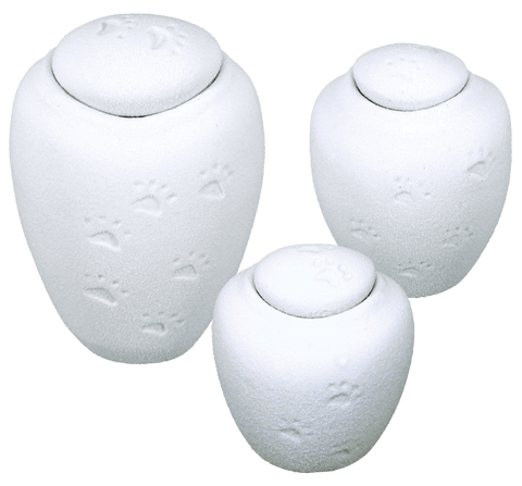 Oceane Quartz White Water-soluble Pet Urn with Paw Prints - Large - Cherished Urns