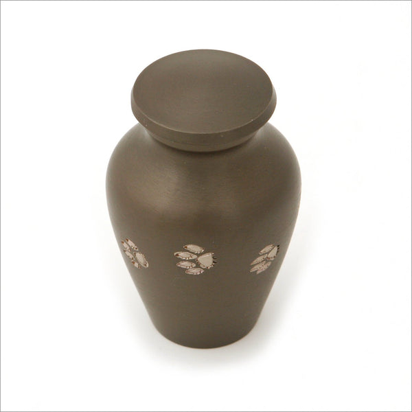 Brass Classic Keepsake Urn for Pet with Slate finish Six in Presentation Box - Cherished Urns