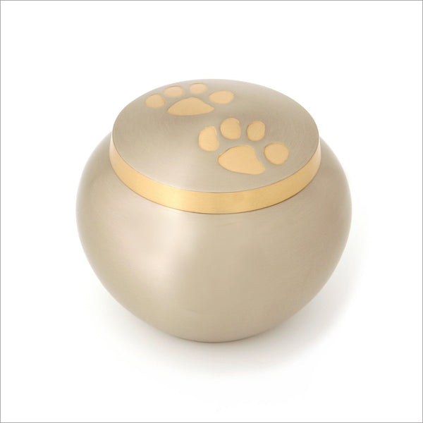 Odyssey Pewter, Brass Urn for Pet with Two Paw Prints - Medium - Cherished Urns