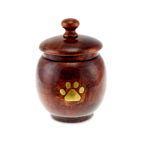 Hannafore Wooden Rounded Pot Paw Print Pet Cremation Urn - Extra Small. Capacity of 25 cubic inches. - Cherished Urns