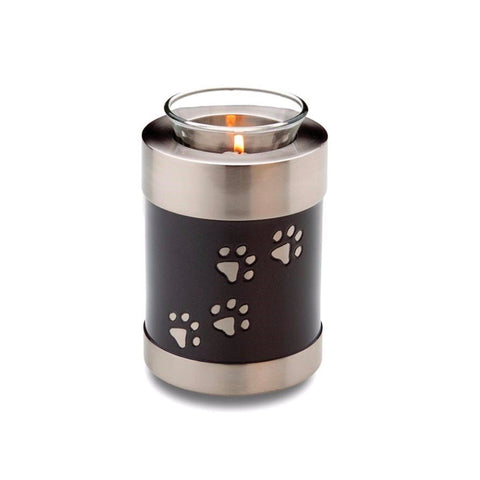 Paw Print Black/Silver Tea Light Pet Cremation Urn - Cherished Urns