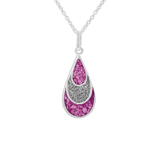 Ladies Layered Teardrop Memorial Ashes Pendant with Swarovski Crystals - Cherished Urns