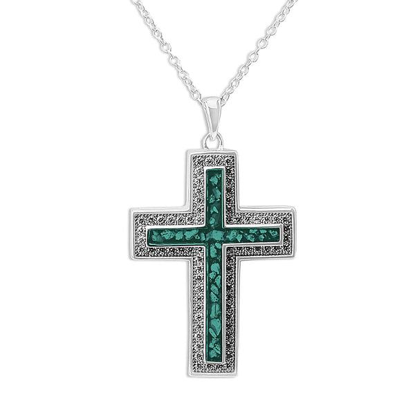 Unisex Cross Memorial Ashes Pendant with Swarovski Crystals - Cherished Urns