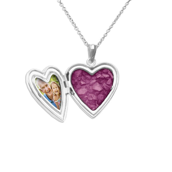 Small Heart Shaped Sterling Silver Cremation Ashes Locket - Cherished Urns