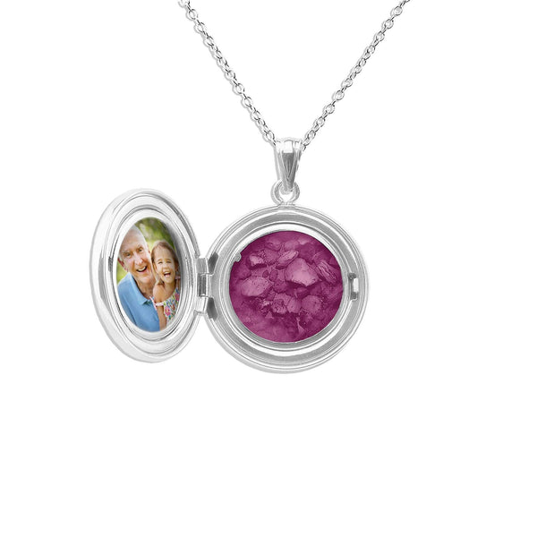 Circular Shaped Sterling Silver Cremation Ashes Locket - Cherished Urns