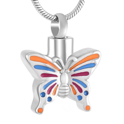 Multicolour Butterfly Memorial Ash Keepsake Cremation Pendant - Cherished Urns