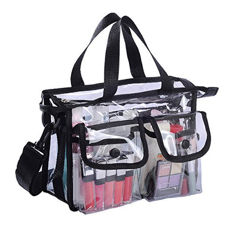 Clear PVC Travel Makeup Cosmetic Bag with 2 External Pockets and Shoulder Strap