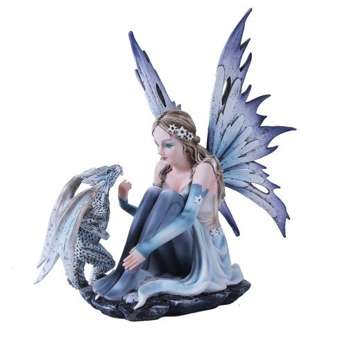Snowflake Winter Fairy and White Leopard Dragon Mystical Statue Figurine