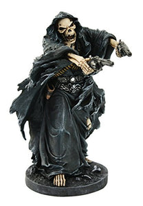 Grim Reaper Assassin With Guns Revolvers Skeleton Death Fantasy Horror Collectible Figurine 9.5 Inch Tall