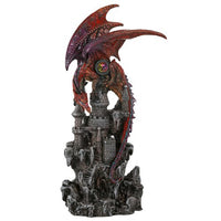 Guardian Dragon Protecting Castle with Precious Stone Collectible Figurine 12 Inch