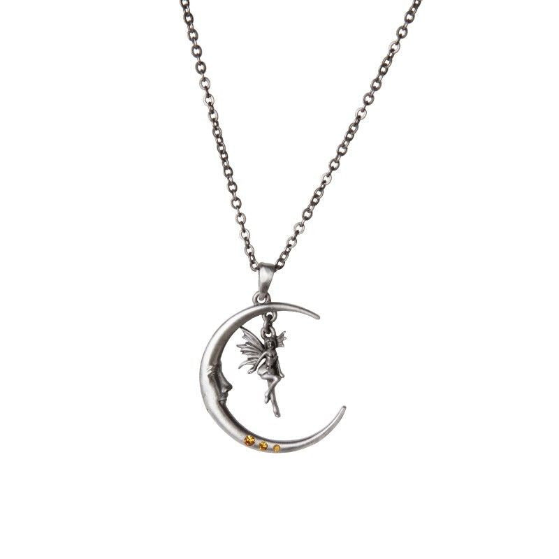 Luna Crescent Moon Fairy Necklace Unisex Lead Free Alloy Necklace